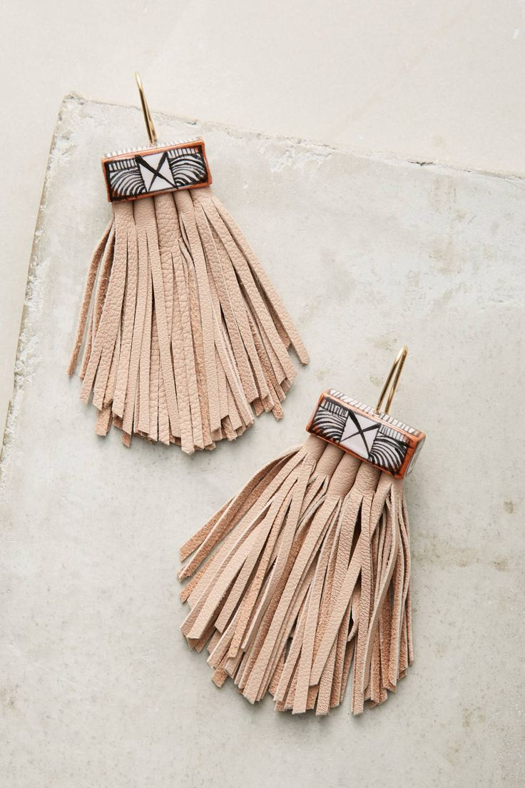 Caged Leather Tassel Earrings
