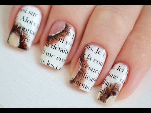 The 25 best newspaper nail art ideas on pinterest diy nails easy burned newspaper nail art youtube prinsesfo Image collections