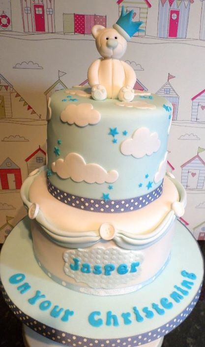 Teddy 2 tier Christening Cake