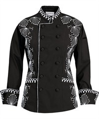 Women's Regal Chef Coat - Elaborate Embroidery - 65/35 Poly/Cotton