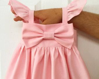 Baby pink puffy sleeves Big bow Dress, simple Girls bow dress, Baby coming home outfit outfit, Wedding, flower girls dress, rustic