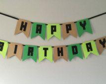 Compleanno Banner, bandiera di compleanno del ragazzo, buon compleanno, compleanno di Minecraft, Minecraft decorazioni