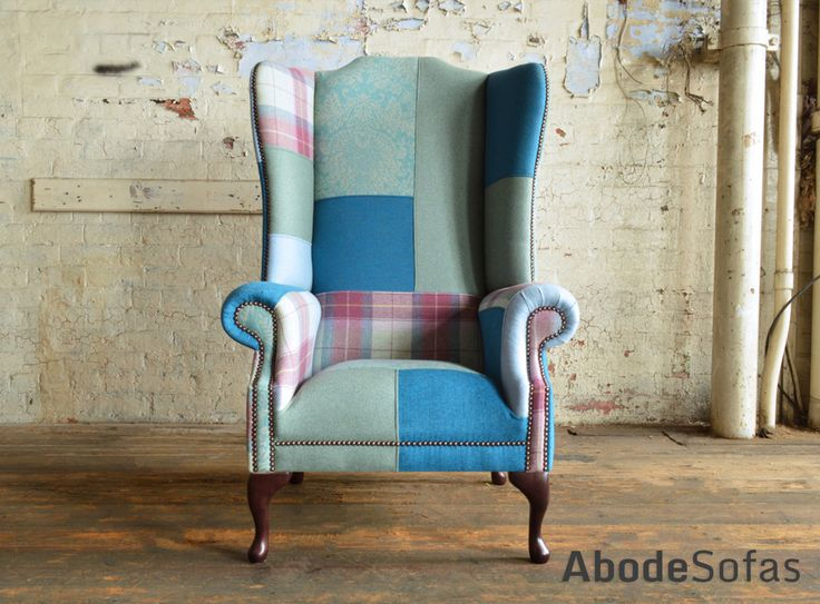 Modern British Handmade Bold Bright Hues of Blue and Patterned #Patchwork Chesterfield Wing #Chair. Totally unique in a range of colourful fabric.| Abode Sofas
