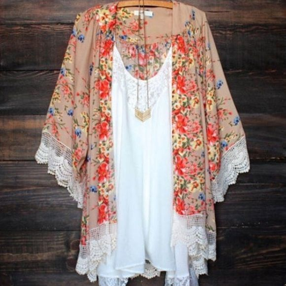 NWOT Boho Floral Kimono NWOT floral boho kimono with lace trim. Size is a medium/large. Fits flowy and oversized. Does not come with cami or necklace in picture. Blue Door Tops
