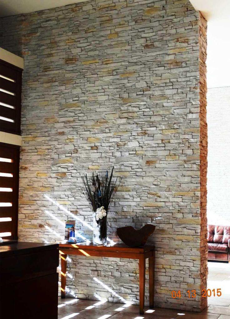 Revestimiento piedra reconstituida piedra para muro for Revestimiento pared piedra