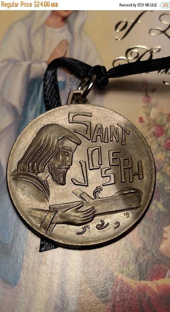 Flash Sale Saint St Joseph Worker Large Vintage Silver Tone