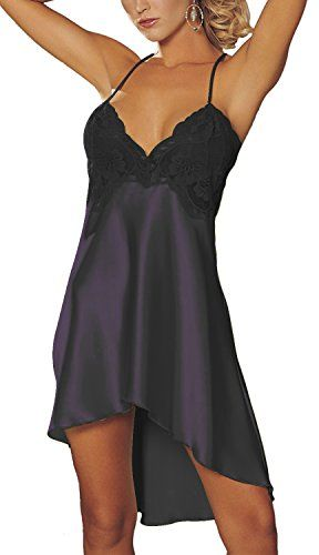 BeautyIn Women's Sexy Lingerie Satin Nightdress Lace Chem…