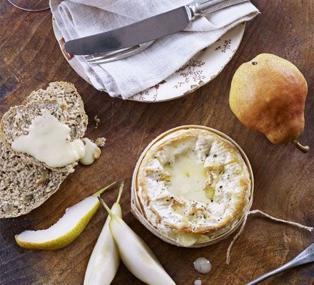 Baked cheese with quick walnut bread & pears  N.B. RIDICULOUS amount of calories! (Also, maybe try gouda instead of brie...?)