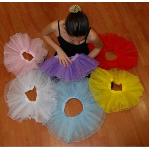 Plie practice tutu skirt, for kids  Plie's, kid's  tutu skirt, with lycra elastic waist and 3 layers of tulle. Availiable in 6 colours.  Price: 18.00€