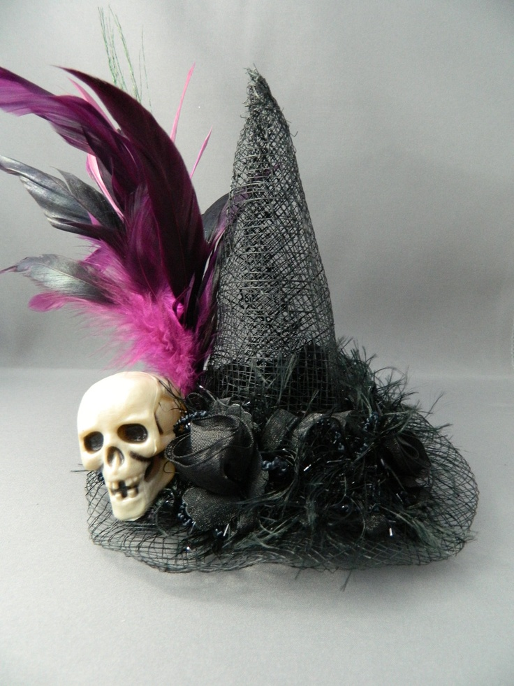 The Skull Mini Witch Hat - fascinator, hair clip, Halloween hat, photo prop, costume accessory. $25.00, via Etsy.