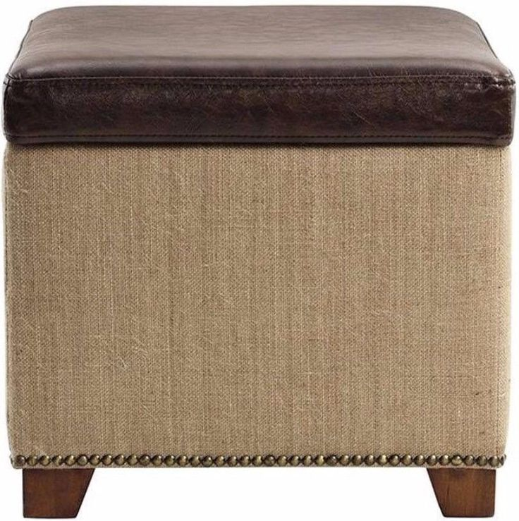 Brown Bonded Leather Storage Ottoman Cube Footrest Stylish Home Office Decor