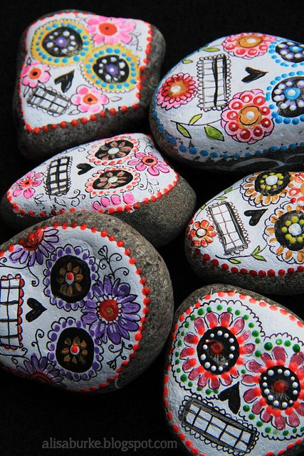 These little stone sugar skulls are amazing!  by the creative genius, Alisa Burke -IMG_2901 by mealisab, via Flickr