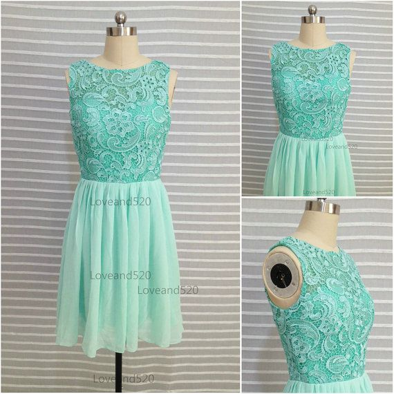 Mint lace prom dress mint short bridesmaid dress by Loveand520