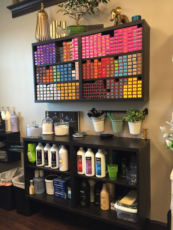 Haircolor storage, color bar, ikea, salon suite