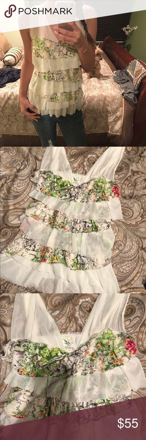 🌷GARDEN RUFFLED TIERED TOP🌷 So sad to see this gorgeous top go! It has ruffles with cute designs and is a v neck style. Super cute and form fitting! Looks great on! Very comfortable and soft material! No piling , tears , or stains! In excellent condition! Made in San Francisco by Anthropologie ships next day! Fits an xs-s Anthropologie Tops