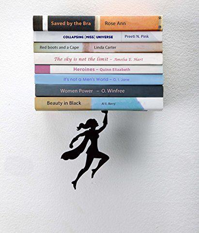 "Artori Design ""Wondershelf"" Black Metal Female Superwoman Floating Book Shelf, Unique Bookshelvs, Gifts for Geeks, Gifts for Book Lovers, Cool Book Stacker"