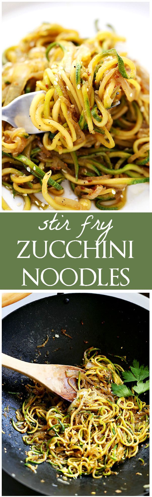 Stir Fry Zucchini Noodles - 2 T vegetable oil, 2 yellow onions, 4 small zucchini, 1 T low sodium soy sauce, 2 T low sodium teriyaki sauce, 1 T sesame seeds