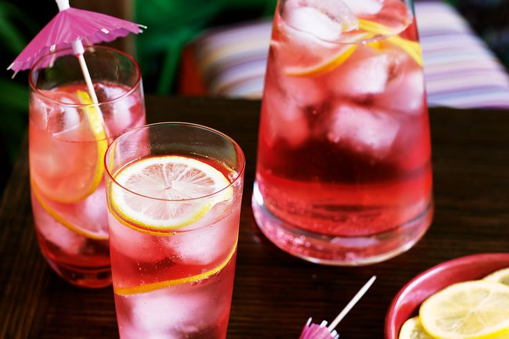 This is a favourite drink for summer - a long, tall, ice-cold gin and tonic, made prettily pink with cranberry juice and rose.
