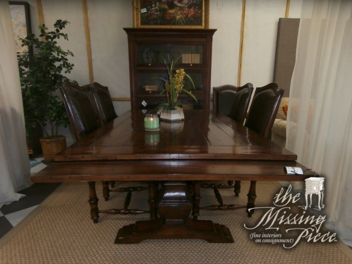 The most practical and fashionable Hooker dining room table and six chairs that money can buy. This has built in extension leaves, 2 captains chairs and four regular chairs. Measures 87*44*30. Arrived: Tuesday December 20th, 2016