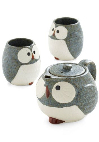 Owl Warm and Cozy Tea Set in StoneTeas Time, Tea Sets, Teapots, Teasets, Owls Teas, Teas Sets, Cozy Teas, Owls Warm, Vintage Kitchen