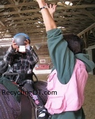 up and down with weighted ball during hippotherapy- to strengthen, promote body awareness and bilateral hand use.......