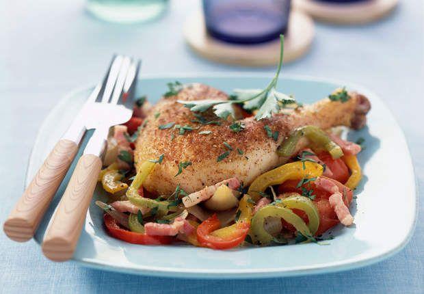Cuisse de poulet basquaiseVoir la recette de la Cuisse de poulet basquaise >>