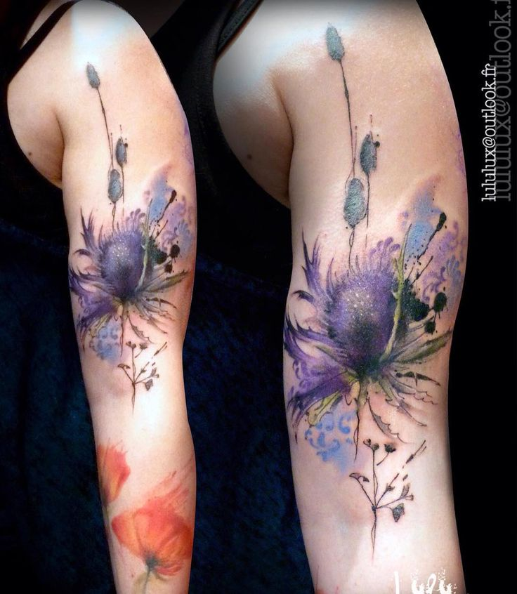 Premiere séance d'un projet floral graphique, merci Amélie de me laisser beaucoup de liberté sur ce grand projet trop cool !  #tattoo #tatouage #thistle #watercolortattoo #botanicaltattoo #flowertattoo #avantgarde #ink #inkedgirl #colortattoo #tattrx #wctattoos #watercolor #TattooIstArtMagazine #thebesttattooartists #tattooersubmission #inkstinctsubmission #tattoo_artwork #tattooart #tattooist #tattoos #bishoprotary #eternalink