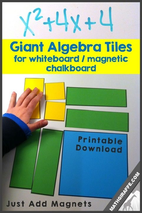 Giant Algebra Tiles for Hands-on Demonstrations at the Board - printable set plus tips for using