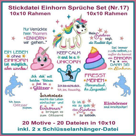 Stickdatei Einhorn 10x10 Spruche Set Nr 17 Stickmuster Sticken Stickmuster Stickdateien