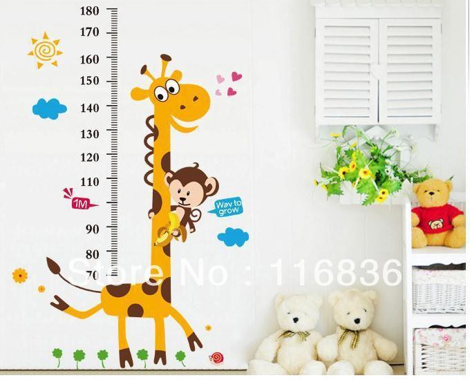 Gratis verzending: het hete verkopen giraffe hoogte grafiek kinderkamer muurstickers decoratie muur sticker