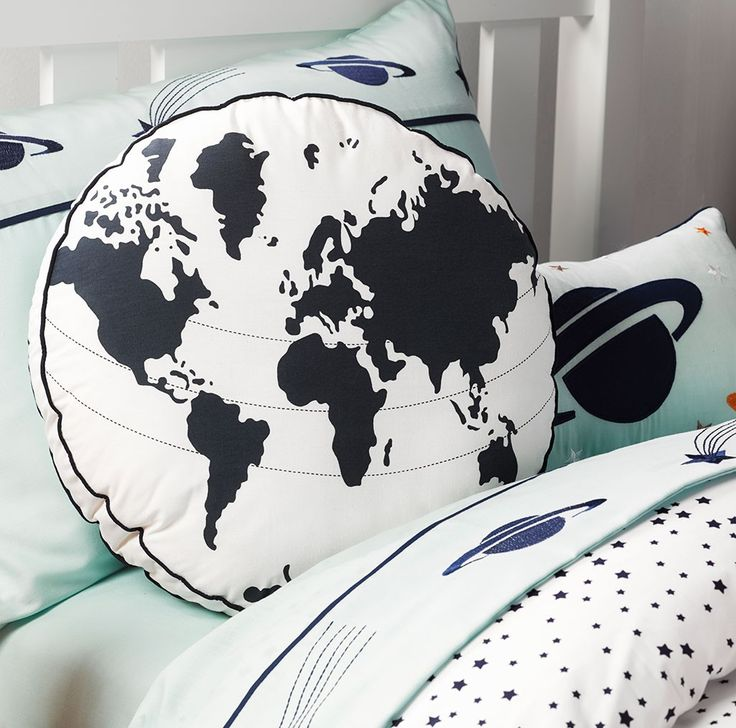 Take Off World Cushion from Kids Bedding Dreams. Ideal for the boys bedroom or anyone that loves space and astronomy.