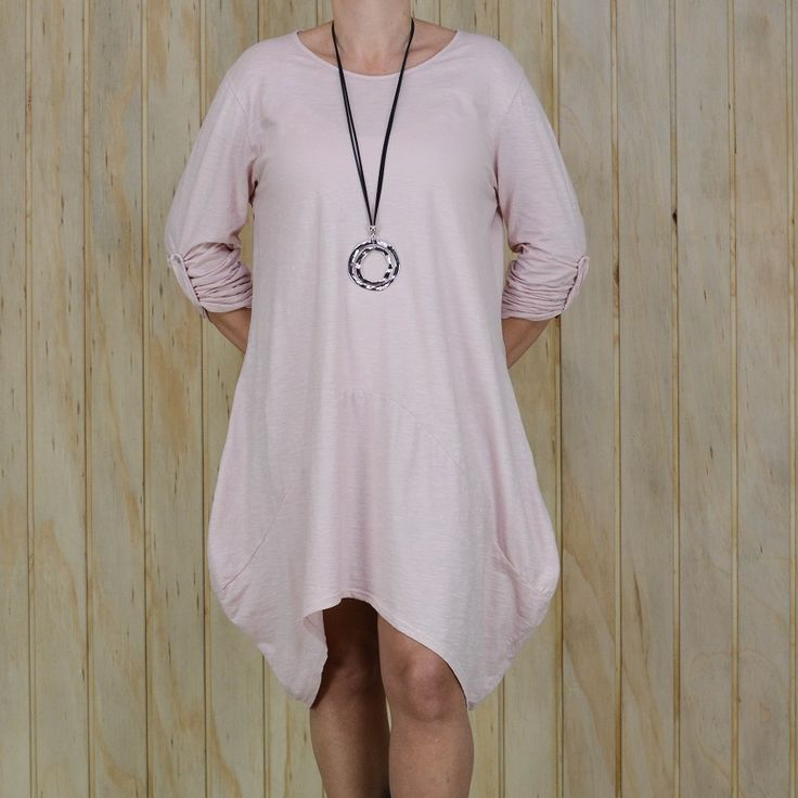 Ladies Lagenlook Dusty Pink Quirky Asymmetric Tunic Dress