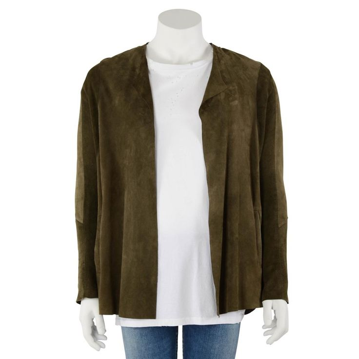 Chronicles of Never Olive Suede Unstructured Jacket. Made from soft sheepskin suede with panel detail. This piece is typical of the design style that comes from this Australian label. Features two front jet pockets and ...
