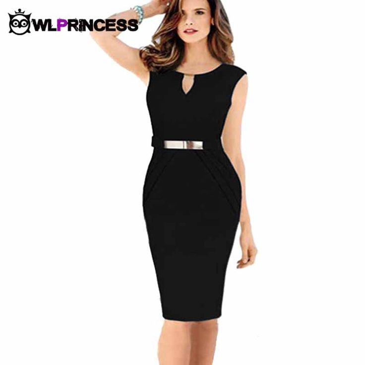 Owlprincess summer sleeveless v-neck solid vestidos knee-length elbise bodycon dress office work for women casual OL dresses