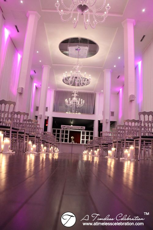 Candles Lined Wedding Ceremony Aisle and Personalized Chuppah | Le Loft Hotel | A Timeless Celebration Montreal Decorations
