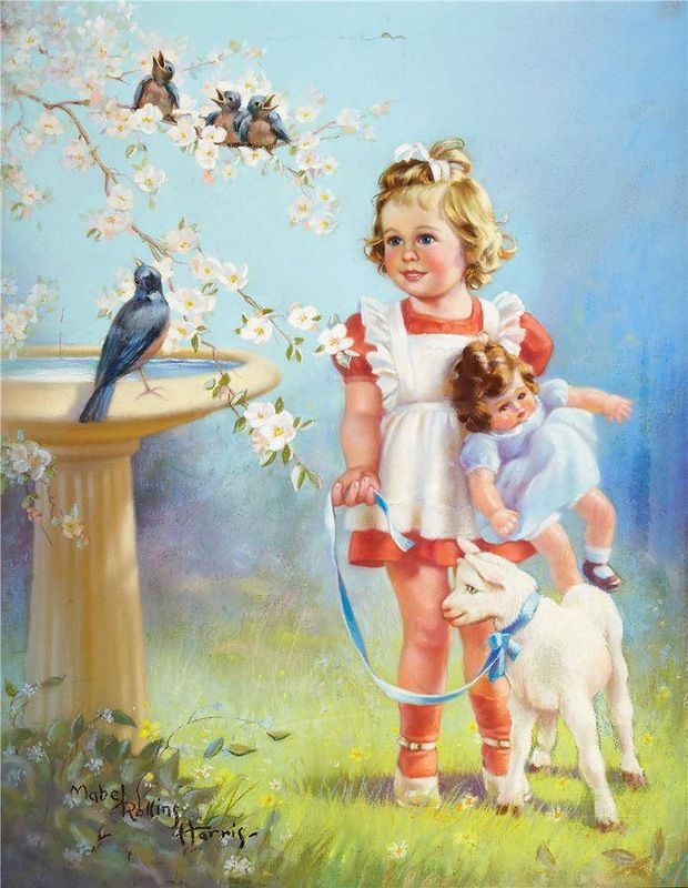Трогательные иллюстрации с маленькими девочками Mabel Rollins Harris - Ярмарка Мастеров - ручная работа, handmade