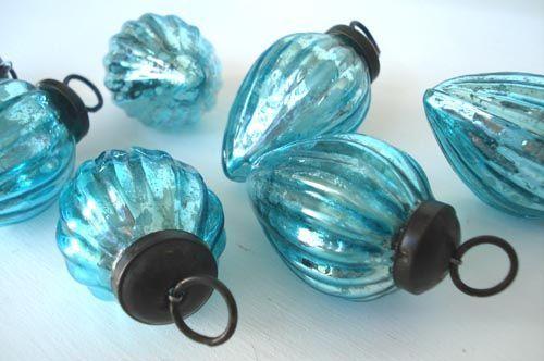 turquoise mercury glass ornaments | Aqua Mercury Glass Ornaments @Brenda Flores