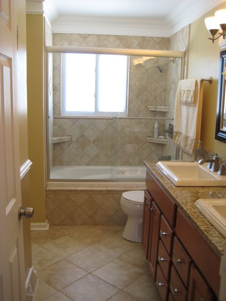 Bathroom remodels before and after warm small master for Small bathroom remodel