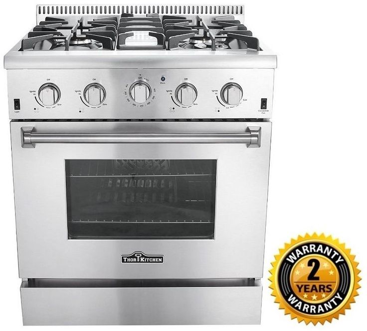 """Includes Broil Pan. The Thor Kitchen HRG3080U 30"""" Professional Stainless Steel Gas Range is the definition of cooking convenience. This range is nicely complemented by heavy-duty cast iron cooking grates as well as a spacious 4.2 cubic foot convection oven which is equipped with a 13,000 BTU tube burner and 22,000 BTU oven burner.   eBay!"""