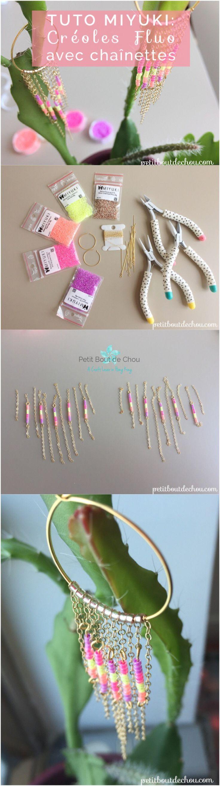Apprenez comment réaliser ces boucles d'oreilles créoles élégantes ornées de perles Miyuki et de chaînettes dorées idéales pour vous accompagner cet été.
