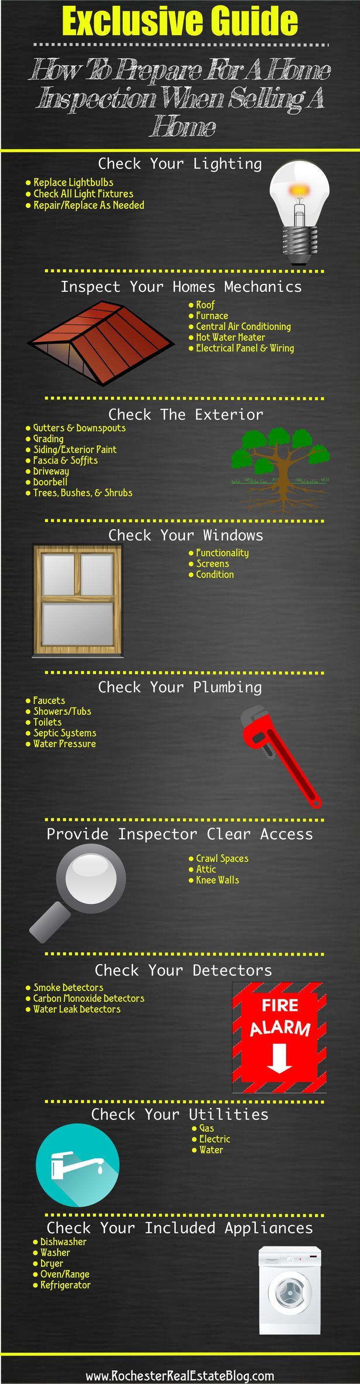 Exclusive Guide On How To Prepare For A Home Inspection When Selling A Home http://www.rochesterrealestateblog.com/prepare-for-a-home-inspection-selling-home/