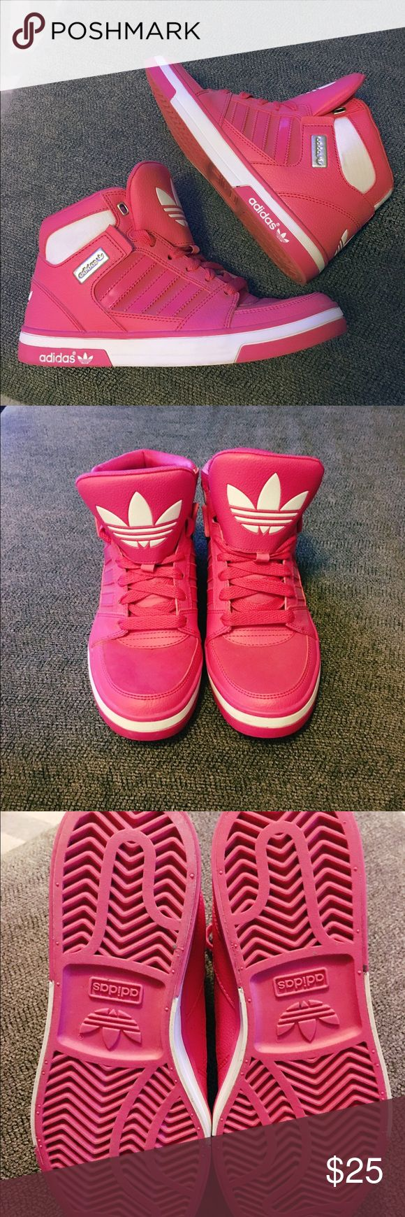 Adidas Ortholite High tops like new 5y = 7 women Pink and white Adidas High top gym shoes. Ortholite Like new size 5 youth which is equivalent to size 7 in women's Adidas Shoes Athletic Shoes