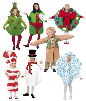 Fully lined, easy-fit poly/foam costumes hold their shape. One size fits most kids. Set includes: Christmas Tree Holiday Gift Gingerbread Man Candy Cane Snowman Snowflake Wreath - no longer available
