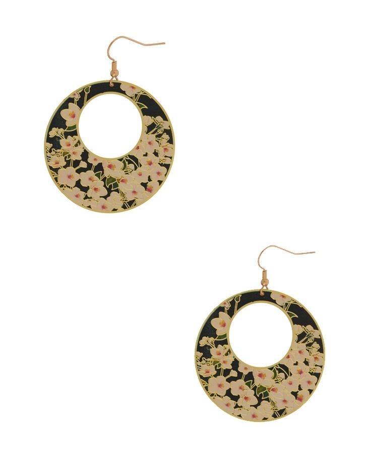 Floral Circle Earrings |