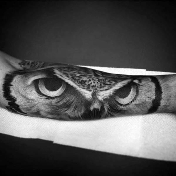 40 Owl Forearm Tattoo Designs For Men Feathered Ink Ideas Owl Forearm Tattoo Owl Eye Tattoo Owl Eyes