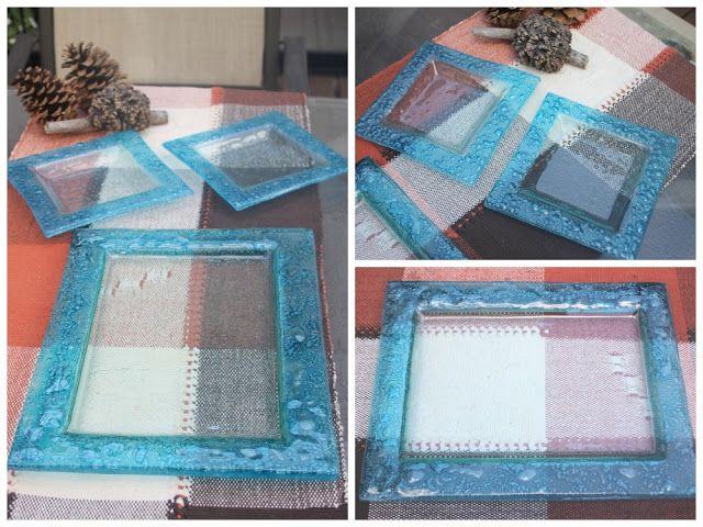 Bandeja con platos haciendo juego.(vitrofusion - Fused glass)   Esmalte turquesa burbujeando (consulte colores)