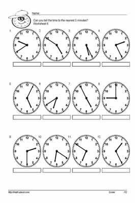 Tell time to the nearest 5 minutes worksheets