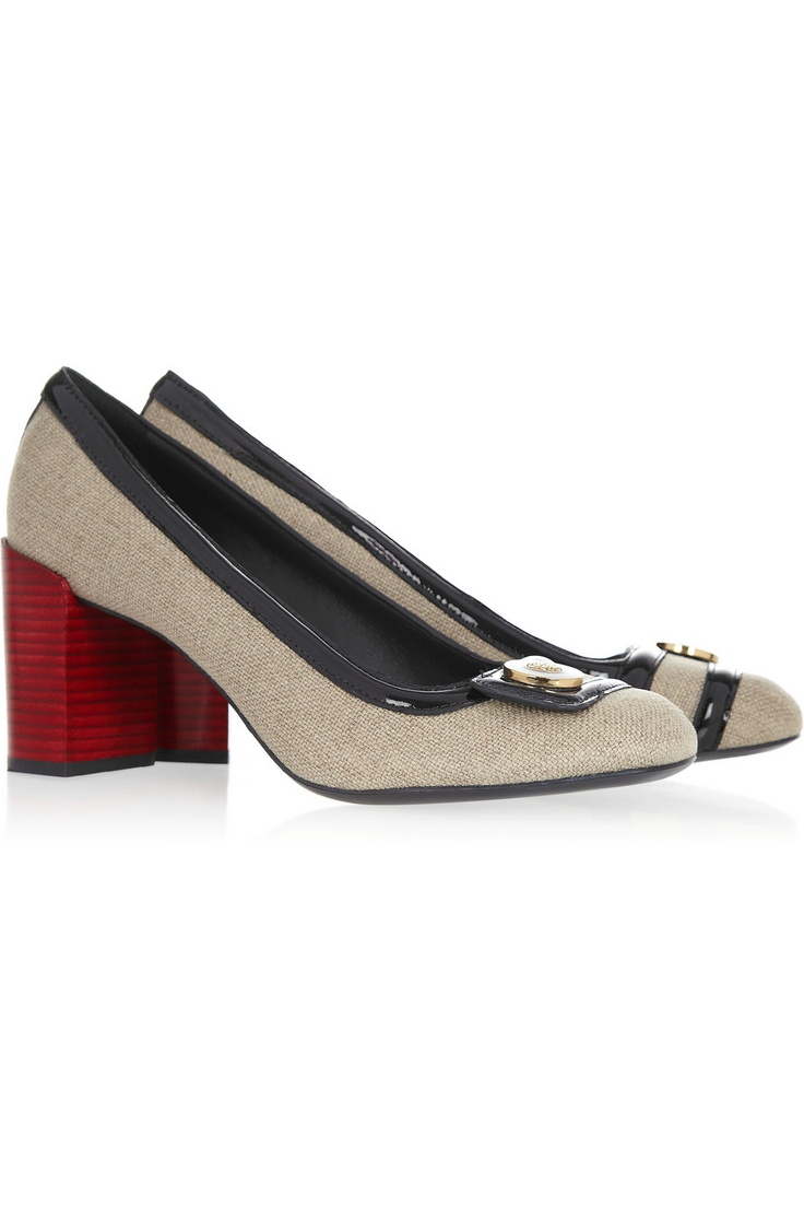 Caryn patent-trimmed canvas pumps by Tory Burch