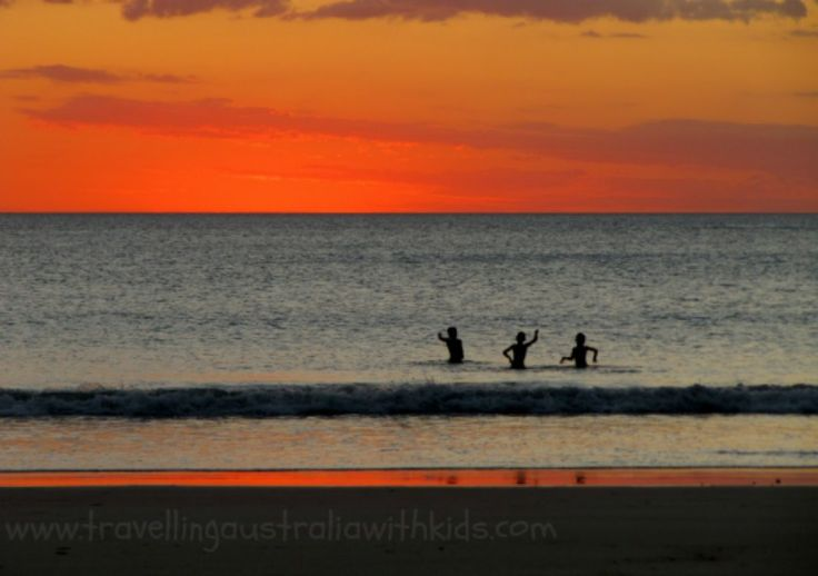 Cable Beach at Sunset.  The children were able to play in the water.  (No stingers whilst we were there)  Love this photo of ours dancing in the ocean.