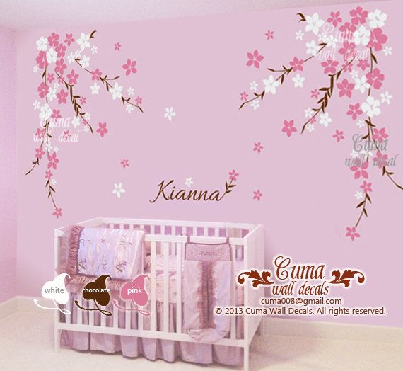Nursery wall decal baby girl and name wall decals flowers cherry blossom wall sticker wedding office- cherry blossom Z127 by cuma